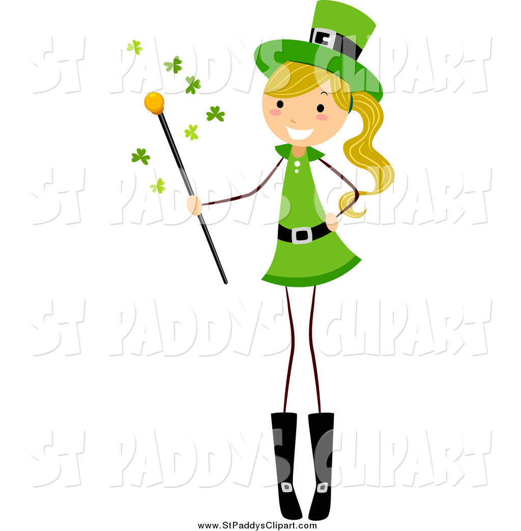 1024x1044 Vector Clip Art Of A St Paddys Day Stick Girl Holding A Magic Wand