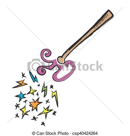450x470 Cartoon Magic Wand, Vector Illustration Clip Art Vector