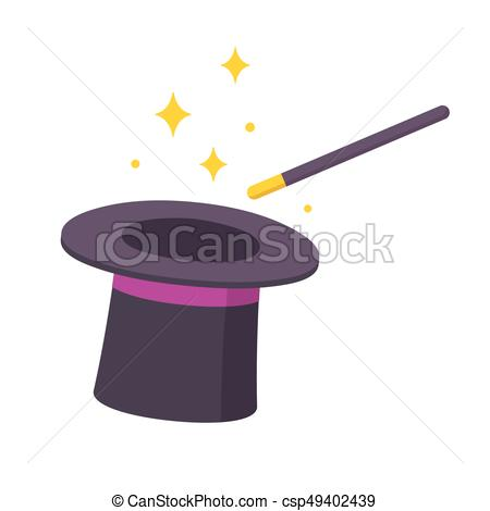 450x470 Magic Hat And Wand. Magician Hat And Magic Wand Icon Isolated