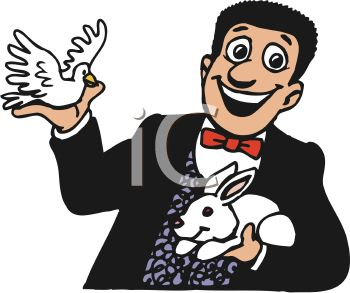 350x293 Smiling Magician Holding A Rabbit And A Dove