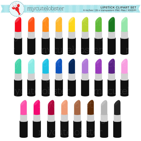 570x570 Rainbow Lipstick Clipart Set