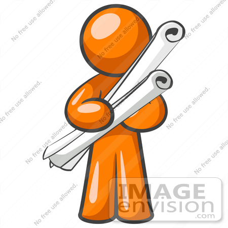 450x450 Clip Art Graphic Of An Orange Man Character Holding Two Long