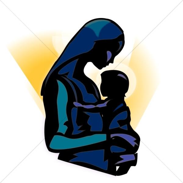 600x600 The Madonna Holding Baby Jesus Clipart Nativity