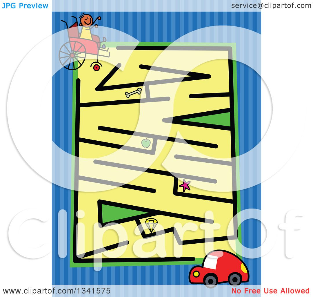 1080x1024 Clipart Of A Stick Boy In A Wheelchair And Car Toddler Puzzle Maze