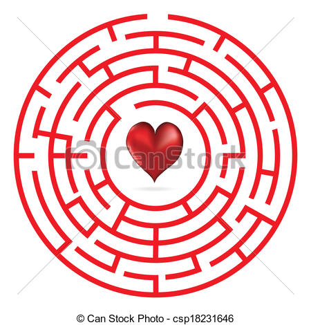 450x470 Love Heart Maze Or Labyrinth Valentine's Day Vector Eps Vector