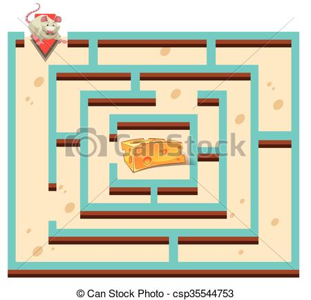 450x434 Maze Template With Mouse And Cheese Illustration.