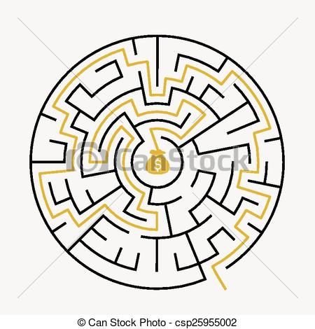 450x470 Simple Round Maze With Money Icon Vector Clip Art Royalty Free. 3