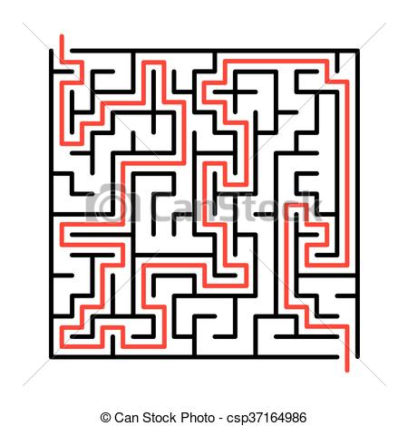 450x470 Black Vector Maze, Labyrinth Illustration With Solution. Vector