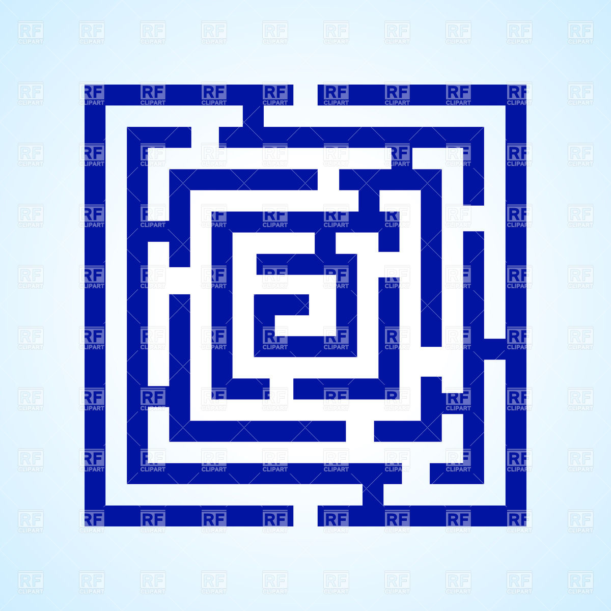 1200x1200 Blue Square Labyrinth Royalty Free Vector Clip Art Image