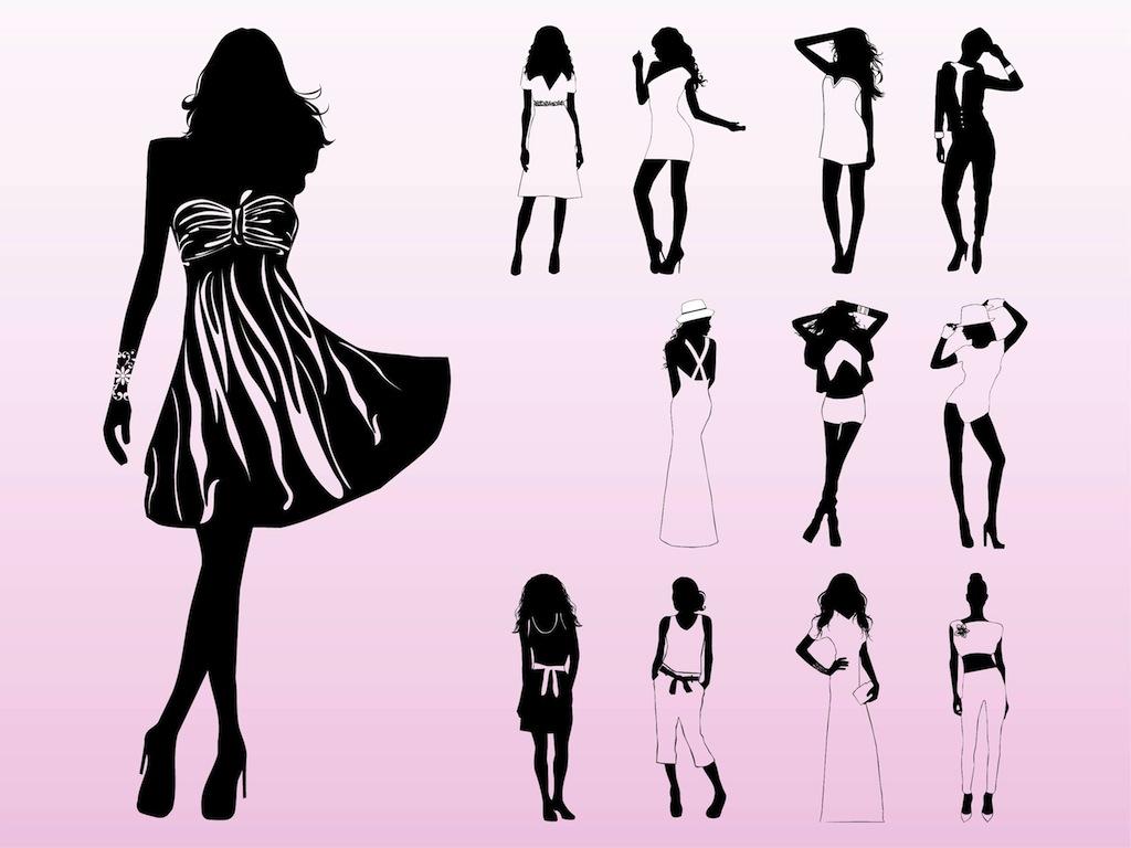 1024x768 Clip Art Black And White Runway Fashion Clipart