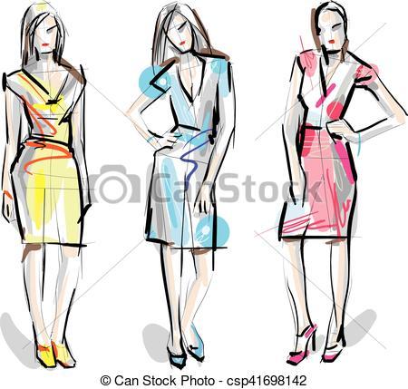 450x429 Fashion Models. Sketch. Hand Drawn Woman Fashion Models, Eps