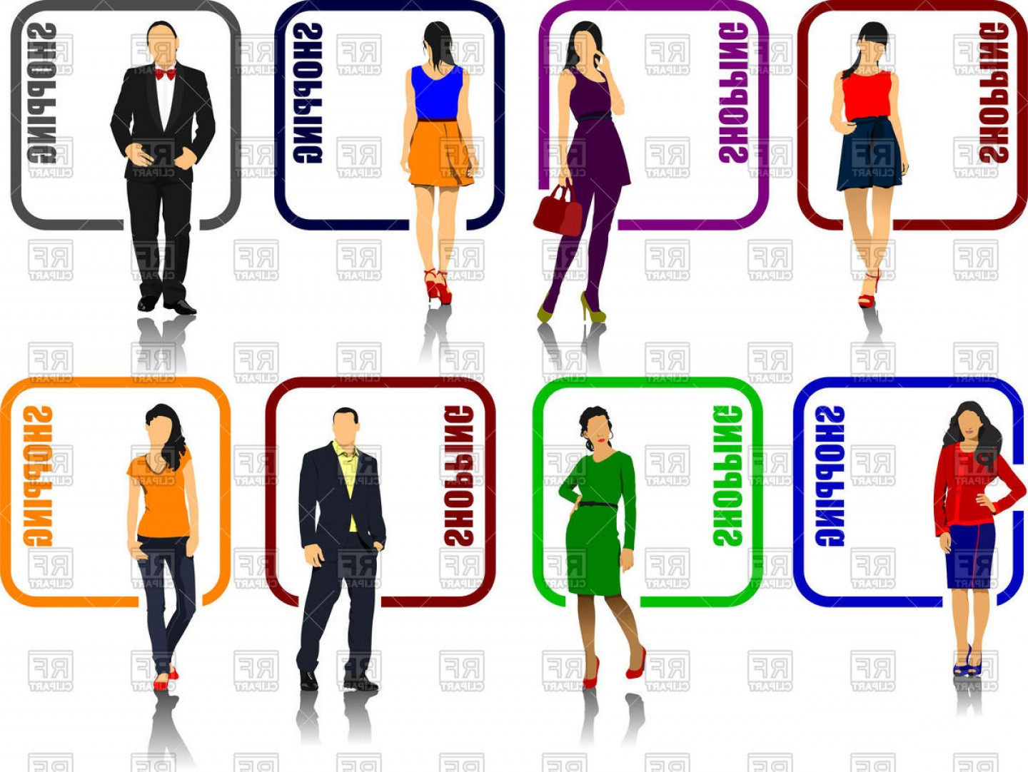 1440x1082 Shopping Icons With Fashion Models Men And Women Vector Clipart
