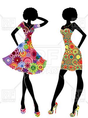 300x400 Slim Stylized Models In Short Dresses Royalty Free Vector Clip Art