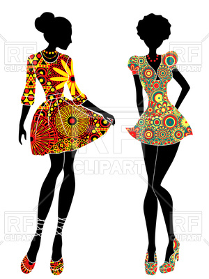 300x400 Slim Stylized Young Models In Short Ornate Colourful Dresses