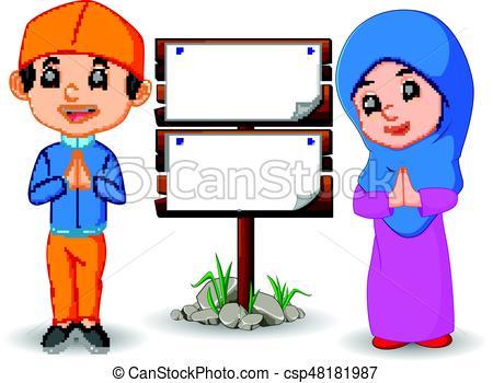 450x350 Illustration Of Muslim Kid Cartoon Vector