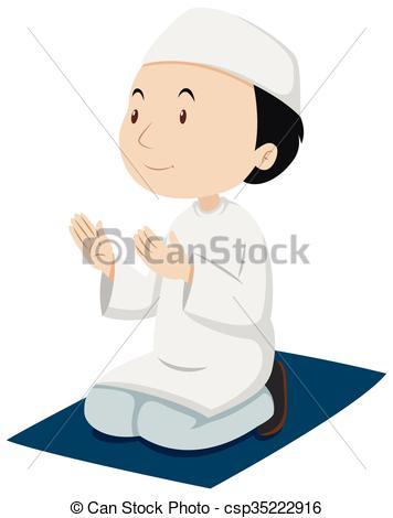 356x470 Muslim Man Praying On The Mat Illustration Vector Clip Art