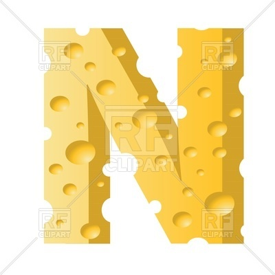 400x400 Font Made Of Cheese, Letter N Royalty Free Vector Clip Art Image