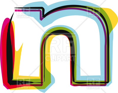 400x318 Abstract Colorful Letter N Royalty Free Vector Clip Art Image