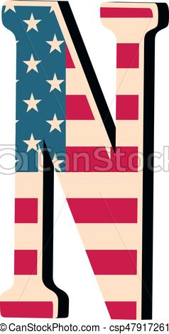 238x470 Capital 3d Letter N With American Flag Texture Isolated On Clip