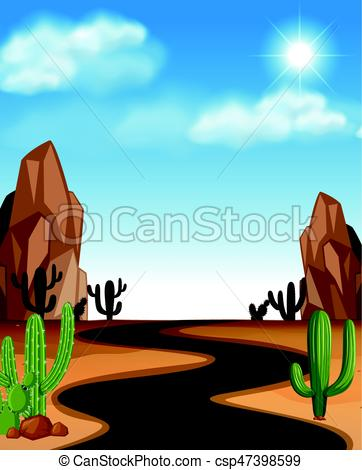 362x470 Desert Scene With Road And Cactus Illustration Eps Vectors