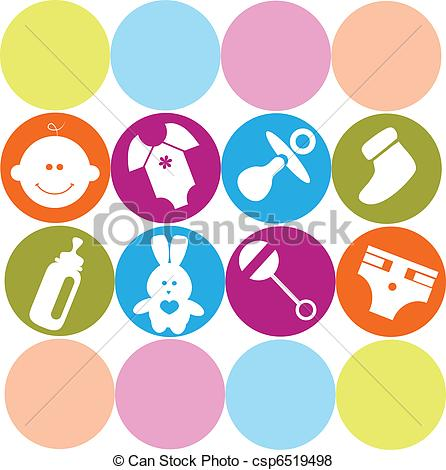 446x470 Newborn Baby Card With Baby Accessories , Vector Vector