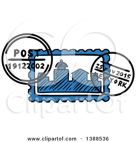 450x470 Clipart Of A Sketched New York Postmark