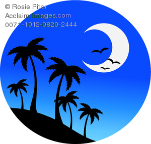 300x287 Clip Art Image Of Palm Trees On A Hill With Birds And A Half Moon