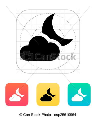 385x470 Partly Cloudy Night Icon. Vector Illustration. Clip Art Vector