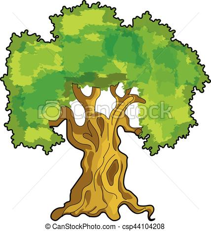 428x470 Oak Tree. The Green Oak On A White Background. Vector Clipart