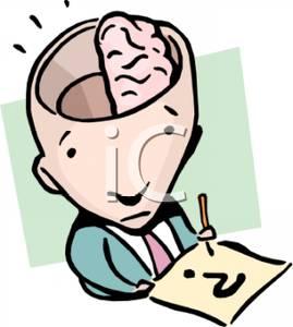 269x300 Clip Art Image A Stumped Man Using Half His Brain