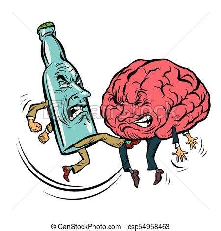 450x470 Alcoholism Destroys The Brain, Drunk. Fight Bottle Of Vodka