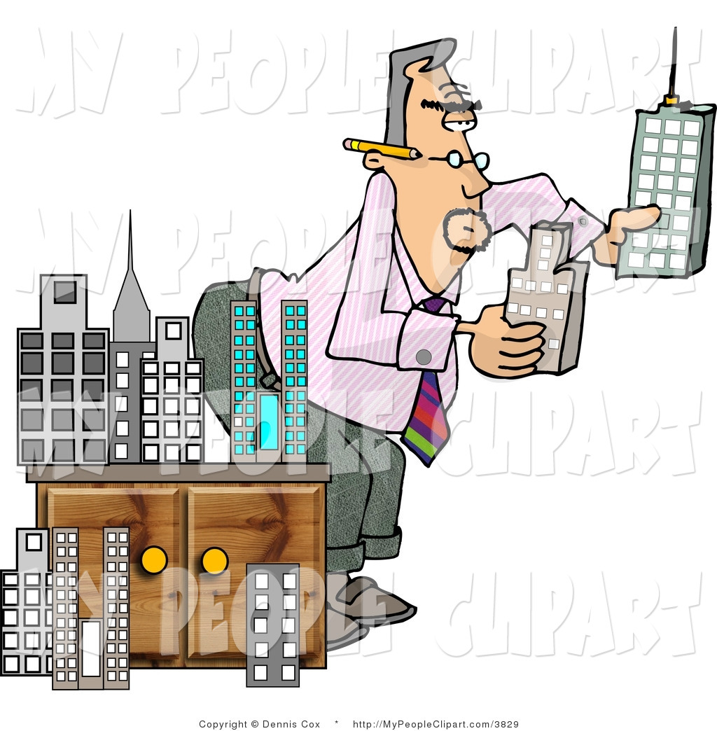 1024x1044 Clip Art Of A Male Architect Bending And Putting A Model City