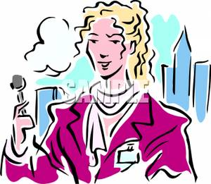 300x261 Clipart Image A Journalist Outside In A City