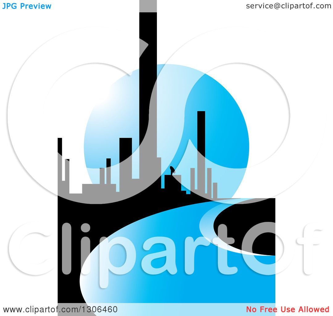 1080x1024 Clipart Of A City Of Skyscrapers And A Blue Road Or River Against
