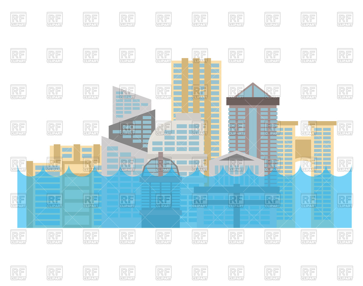 1200x947 Flooding In City. Flood In Town. House Flooded. Royalty Free