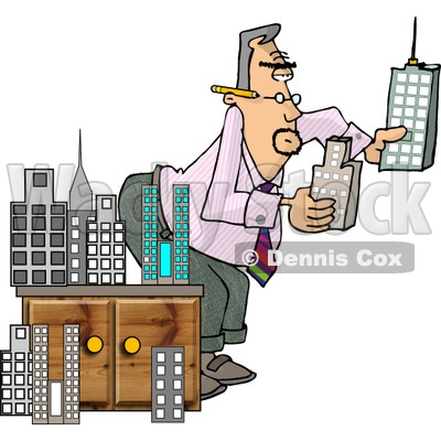 400x400 Male Architect Putting A Model City Together Clipart Djart