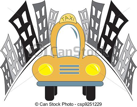 450x352 Taxi Car In City. Simple Cartoon Drawing Of A Taxi Car Eps