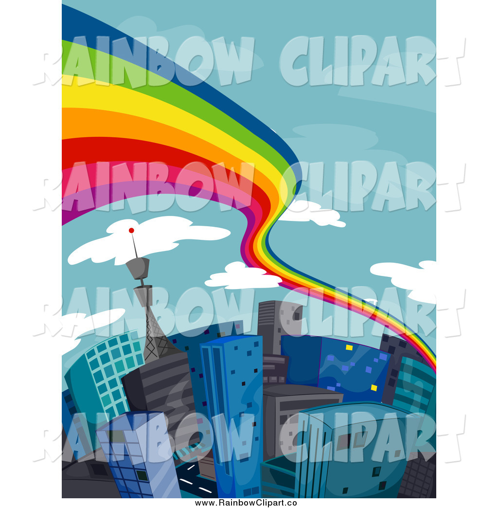 1024x1044 Vector Clip Art Of A Rainbow Over A City Of Tall Buildings By Bnp