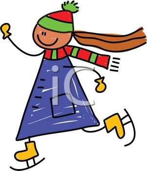 301x350 Clip Art Cartoon Of A Little Girl Ice Skating Very Fast