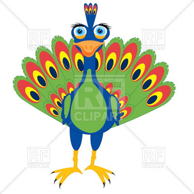 400x400 Cartoon Peacock Front View Free Download Vector Clip Art Image