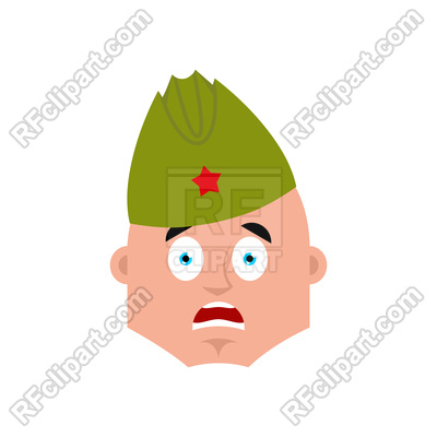 400x400 Soviet Soldier Scared Omg Emotion Royalty Free Vector Clip Art