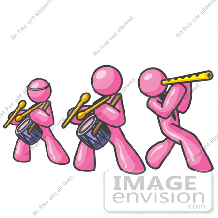450x450 Clip Art Graphic Of Pink Guy Characters Playing A Flute And Drums