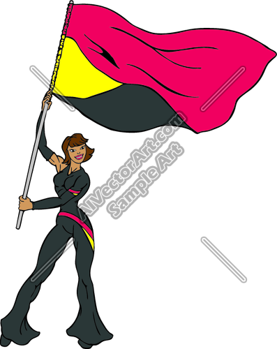 397x500 Marching Band Color Guard Clipart