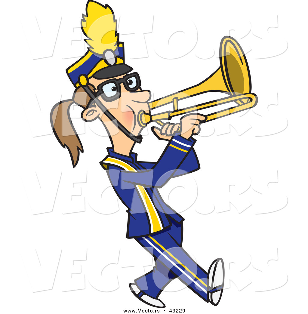 1024x1044 Vector Of A Cartoon Female Trombone Player Marching By Toonaday