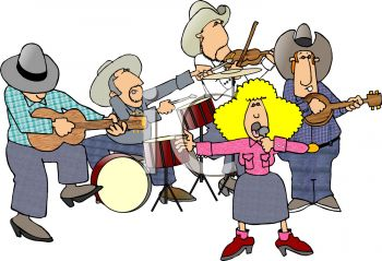 350x239 Cartoon Of A Cowboy Band With A Female Country Singer