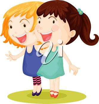 332x350 Clip Art Illustration Of Best Friends