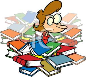 300x267 Clip Art Image A Confused Girl In A Pile Of Library Books