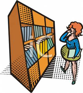 269x300 A Woman Browsing Books In A Library Clip Art Image