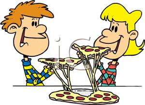 300x218 Clip Art Image A Boy And Girl Eating Pizza