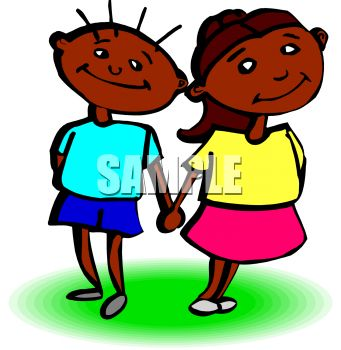 341x350 African American Boy And Girl Holding Hands Clip Art